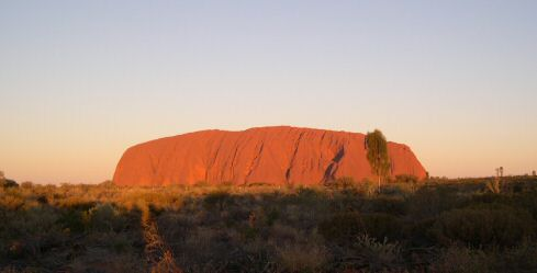 Ayers Rock by the sun's first and last rays