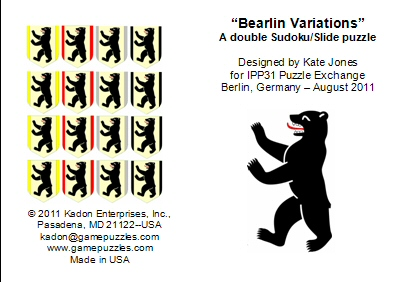 Front and back of leaflet for the Bearlin Variations puzzle