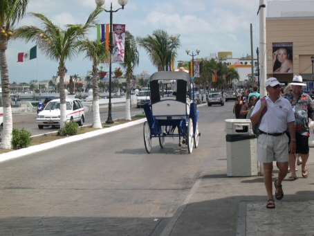 First stop--Cozumel. Horse and cart ride into town.