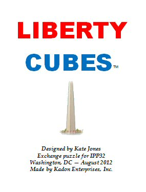Cover panel of leaflet for the Liberty Cubes puzzle