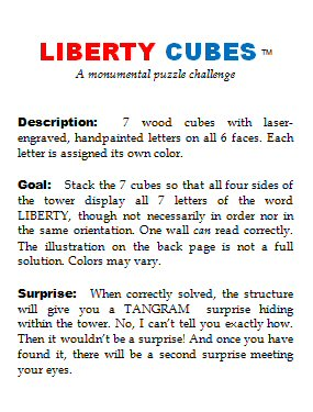 Page 2 of the Liberty Cubes leaflet