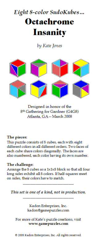Leaflet for the Octachrome Insanity puzzle